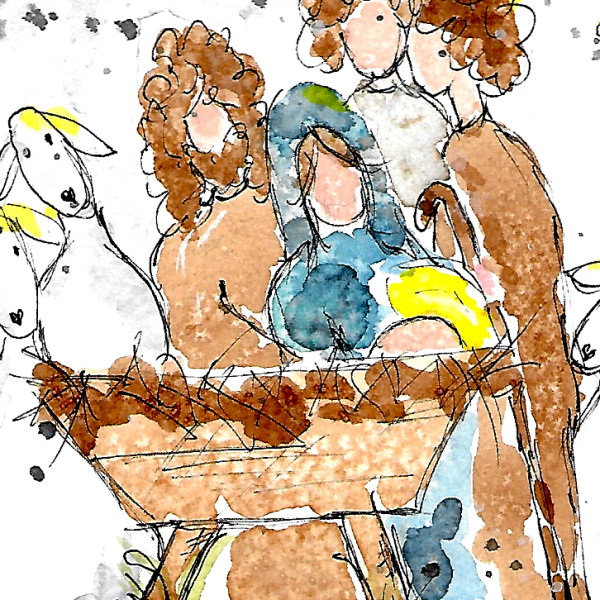 2015 Nativity #3 by Jane Martin | Watercolor Original