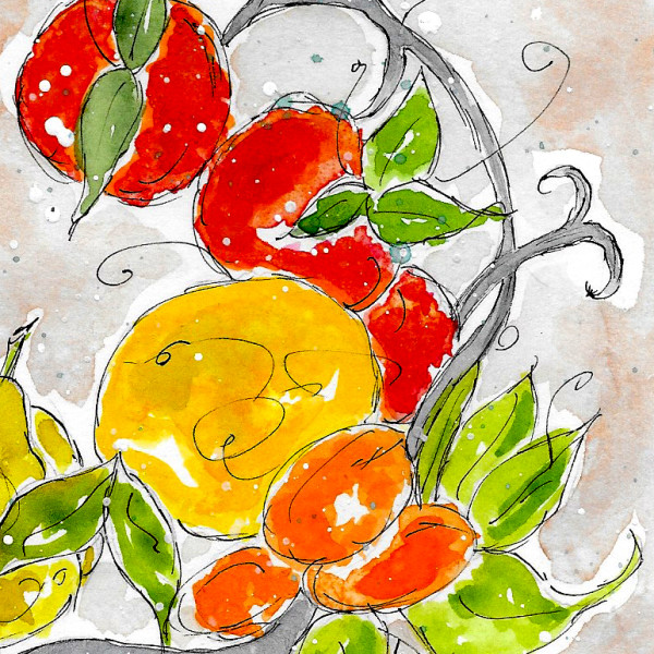 Fresh Fruit Wreath #3 by Jane Martin | Watercolor Original