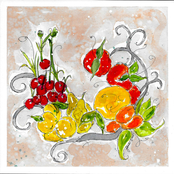 Fresh Fruit Wreath by Jane Martin | Watercolor Original