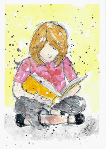 Janie Reads Her Favorite Book by Jane Martin | Watercolor Original