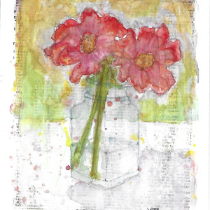 Poppies in Glass Vase by Jane Martin | Watercolor Original