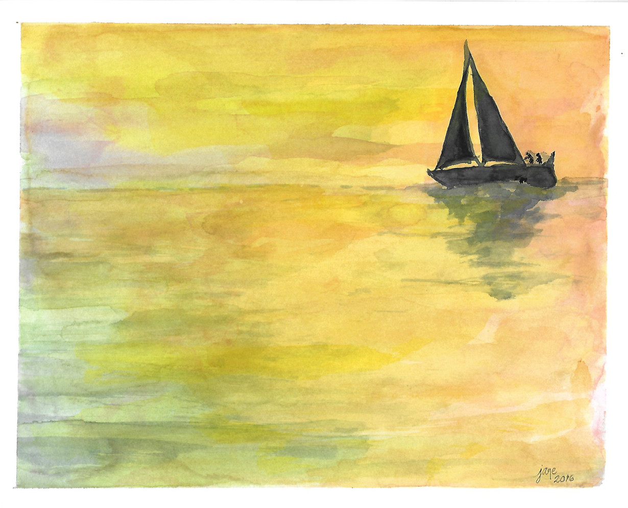 Smooth Sailing at Sunset by Jane Martin | Watercolor Original