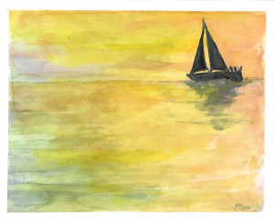 Smooth Sailing at Sunset by Jane Martin | Watercolor Original