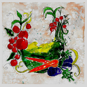 Veggie Wreath by Jane Martin | Watercolor Original