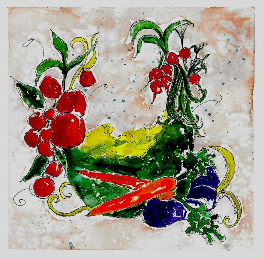 Veggie Wreath by Jane Martin | Watercolor Original