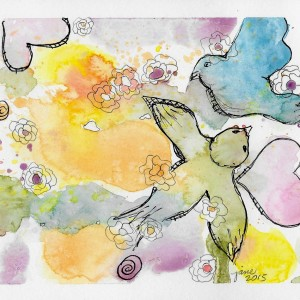 Fly Birdie Fly by Jane Martin Watercolor Original Painting