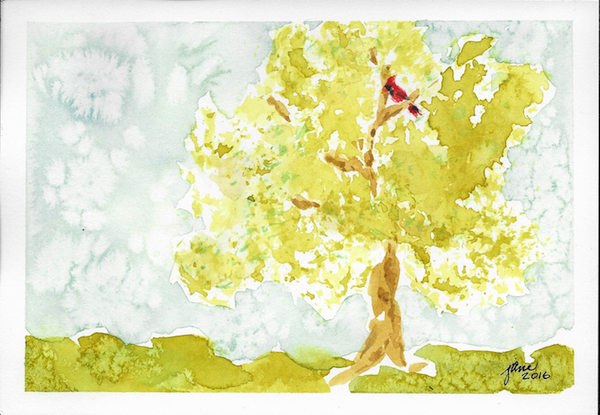 Sitting in a Tree by Jane Martin | Watercolor Original