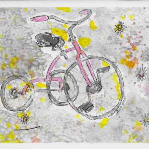 Tricycle in Pink by Jane Martin | Watercolor Original Painting