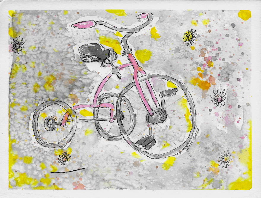 Tricycle in Pink by Jane Martin   Watercolor Original Painting