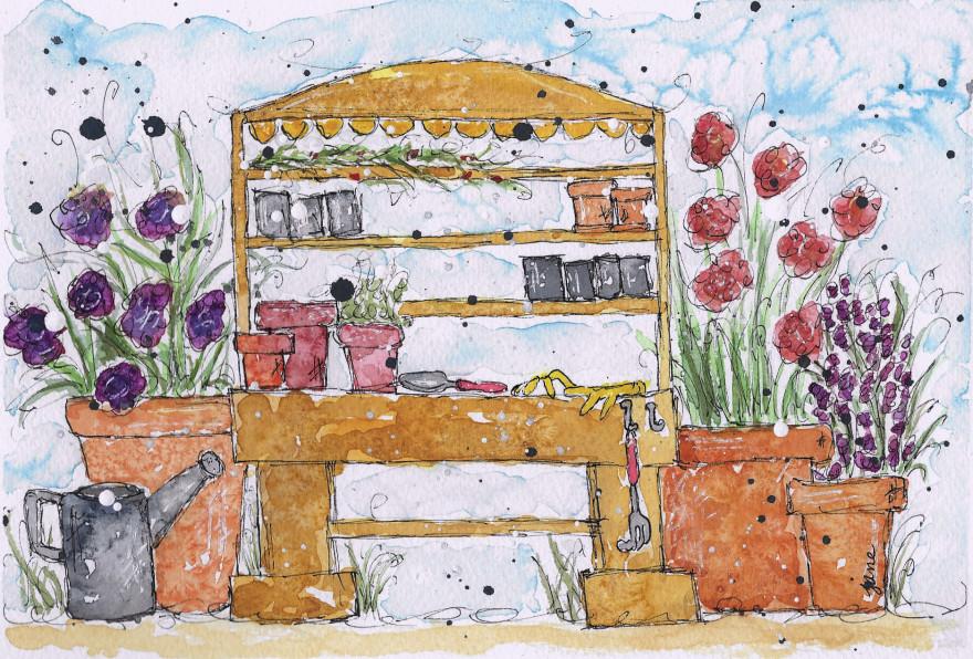 Spring Plantings by Jane Martin | Original Watercolor Painting