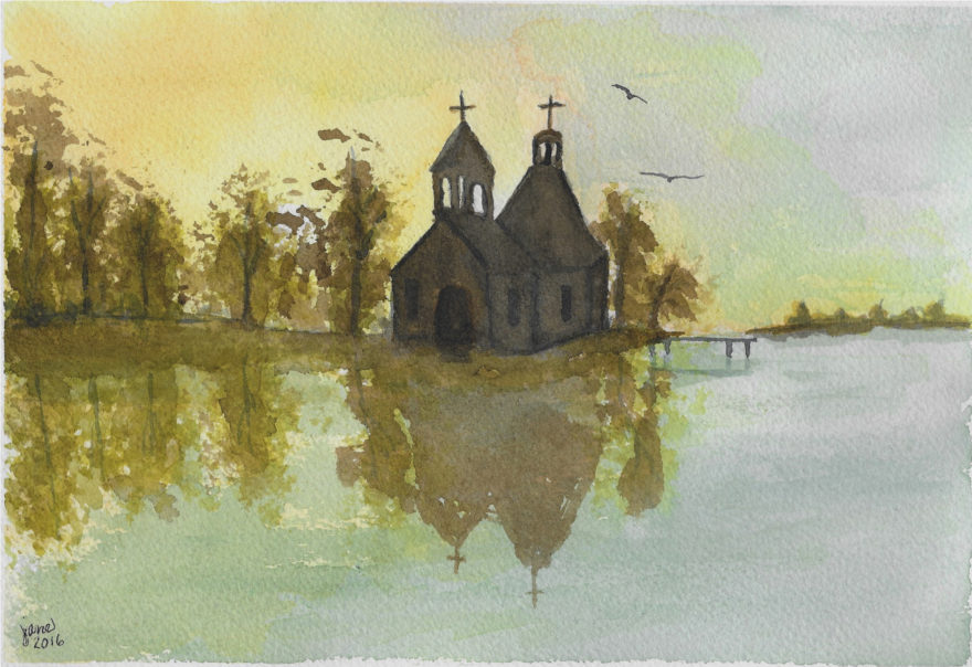 Worship on the Lake by Jane Martin | Original Watercolor Painting.jpg