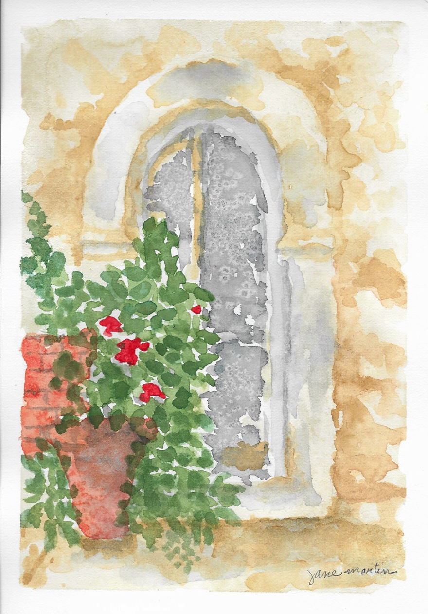 Old Door and Geraniums by Jane Martin | Original Watercolor Painting