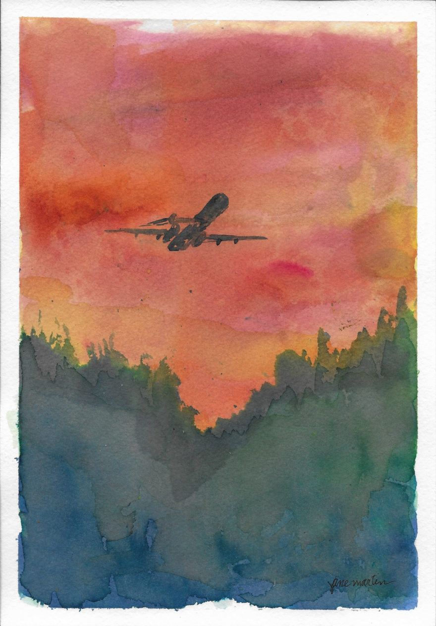 Flying Out of the Valley at Sunset by Jane Martin | Original Watercolor Painting