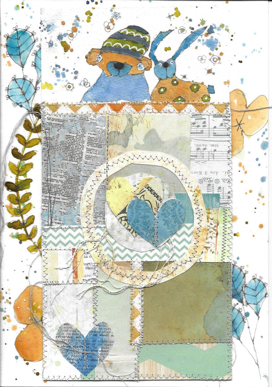 bear-bunny-blue-by-jane-martin-original-mixed-media-painting
