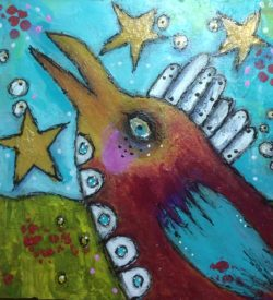 twinkle-twinkle-dirty-flirty-bird-by-jane-martin-original-acrylic-painting