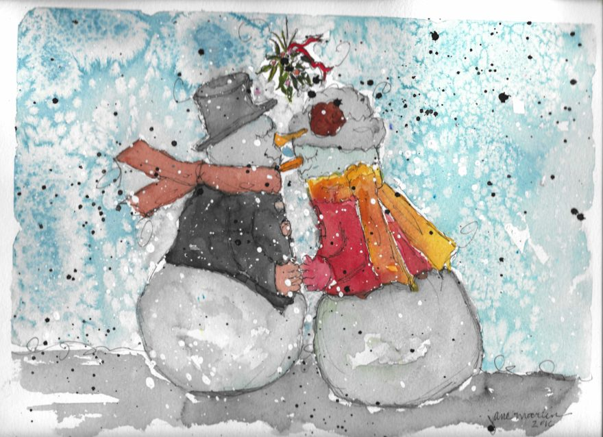 Snowman and Snowmum by Jane Martin | Original Watercolor Painting