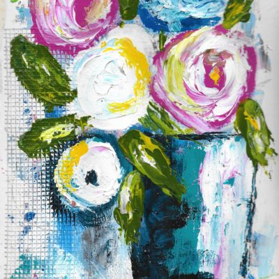 Abstract Floral - Blue Vase by Jane Martin | Printed from Original Art Journal Mixed Media Page