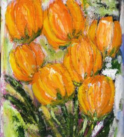 Abstract Floral - Orange Tulips Card by Jane Martin | Printed from Original Art Journal Mixed Media Page