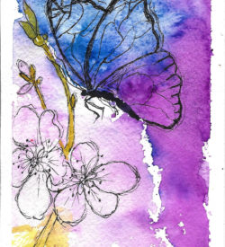 Butterfly in Flight Card by Jane Martin | Original Art Journal Mixed Media Page