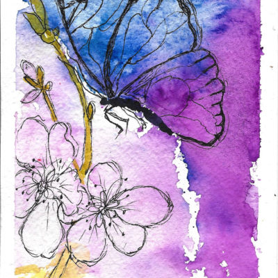 Butterfly in Flight Card by Jane Martin   Original Art Journal Mixed Media Page