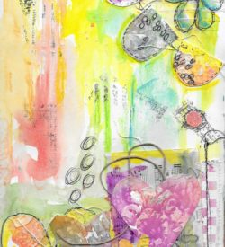 The Love Collection Card No 02 by Jane Martin | Printed from Original Art Journal Mixed Media Page