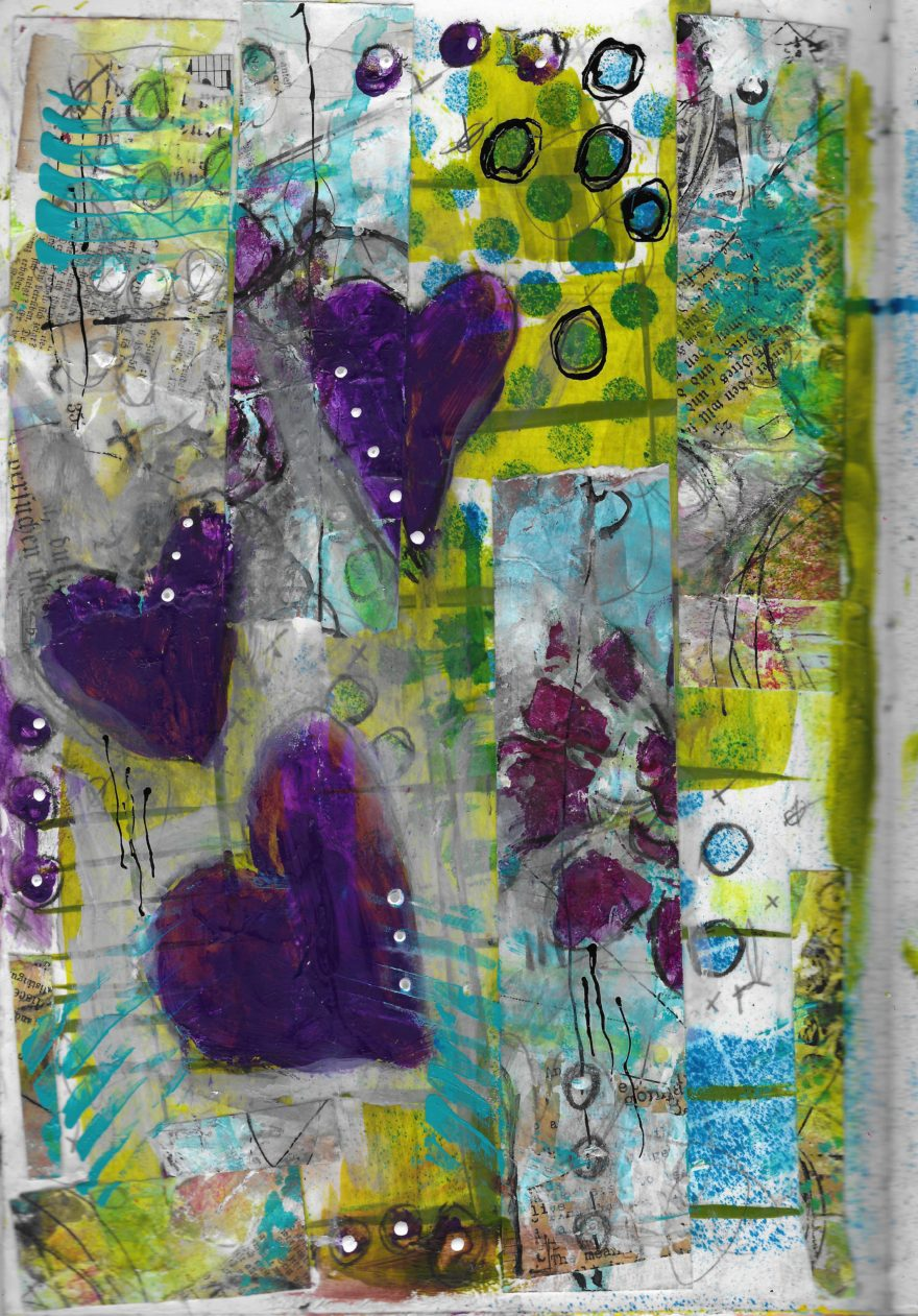 The Love Collection Card No 20 by Jane Martin | Printed from Original Art Journal Mixed Media Page