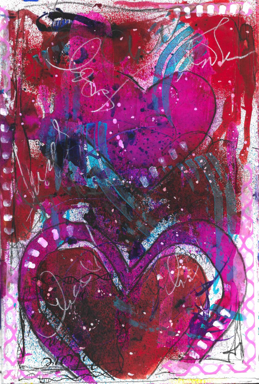 The Love Collection Card No 25 by Jane Martin   Printed from Original Art Journal Mixed Media Page