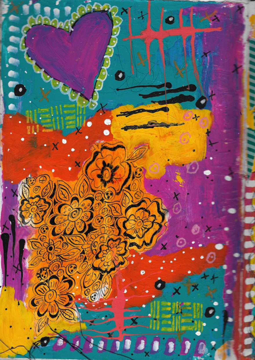 The Love Collection Card No 26 by Jane Martin   Printed from Original Art Journal Mixed Media Page
