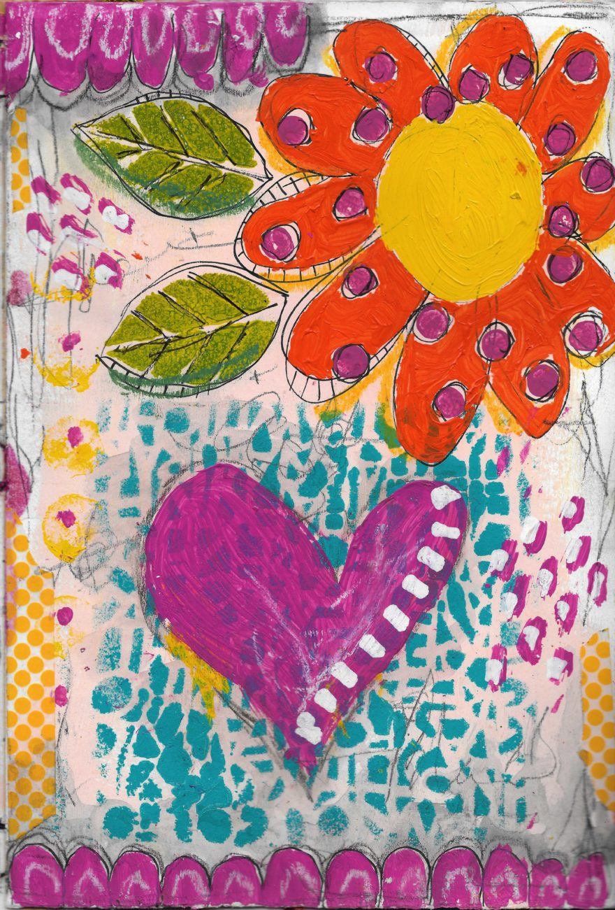 The Love Collection Card No 29 by Jane Martin   Printed from Original Art Journal Mixed Media Page