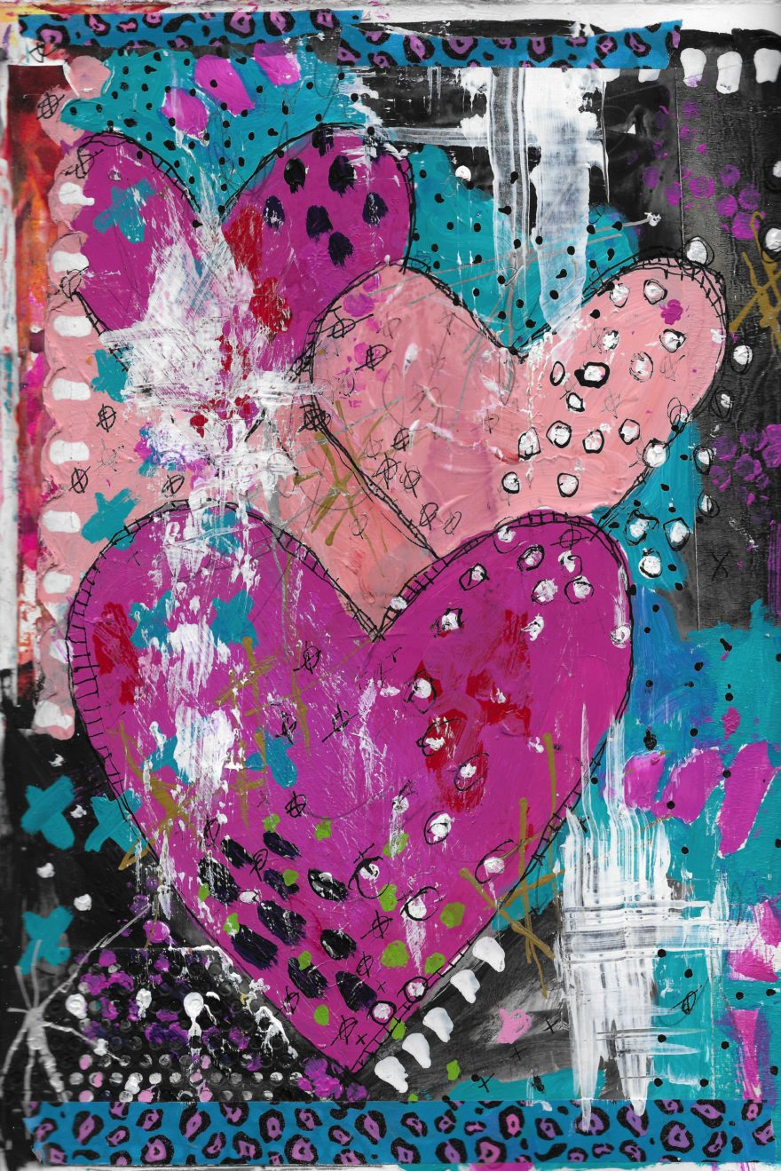 The Love Collection Card No 34 by Jane Martin   Printed from Original Art Journal Mixed Media Page