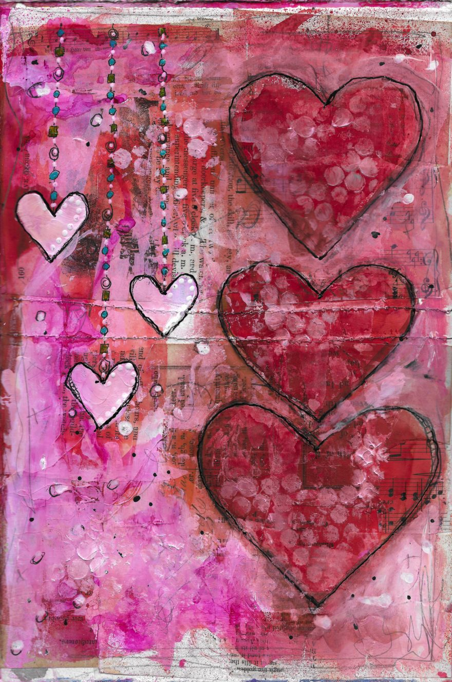 The Love Collection Card No 09 by Jane Martin | Printed from Original Art Journal Mixed Media Page