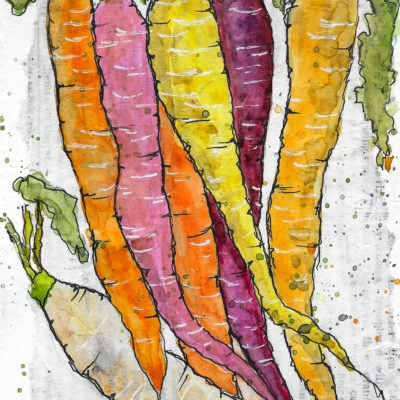 Heirloom Carrots by Jane Martin | Original Watercolor Painting